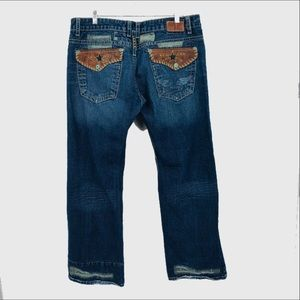Robin's Jeans with leather studded appliqué pocket